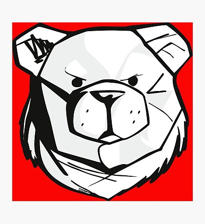 Robust bear logo black and red Photographic Print