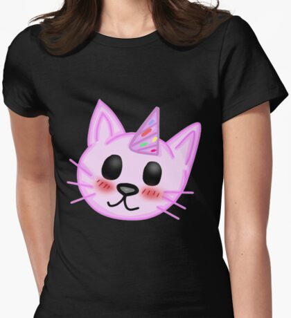 Kawaii Party Cat Womens Fitted T-Shirt