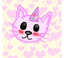 Kawaii Party Cat Photographic Print