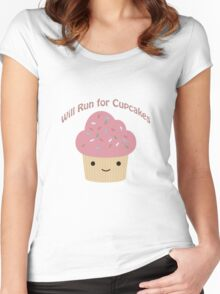 Will Run For Cupcakes Women's Fitted Scoop T-Shirt