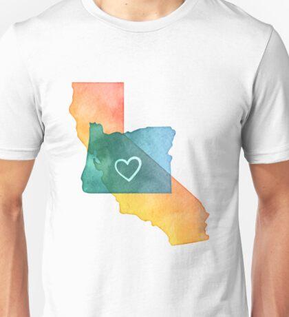 I Love California and Oregon Unisex T-Shirt