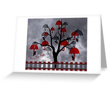 Rainy Day Roost in the Umbrella Tree  Greeting Card