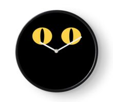 Yellow Minimalistic Cat Eyes Clock