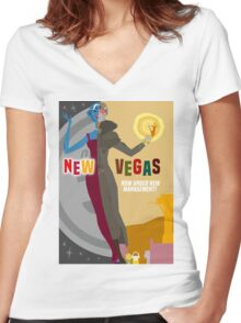 Vintage New Vegas Tourism Poster: Platinum Chip Women's Fitted V-Neck T-Shirt