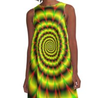 Spiral in Yellow Red and Green A-Line Dress