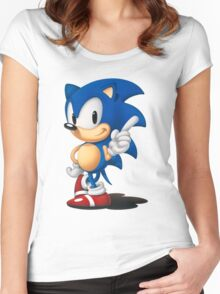 The Classic Blue Hedgehog (white background) Women's Fitted Scoop T-Shirt
