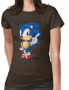 The Classic Blue Hedgehog (white background) Womens Fitted T-Shirt