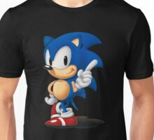 The Classic Blue Hedgehog (black background) Unisex T-Shirt