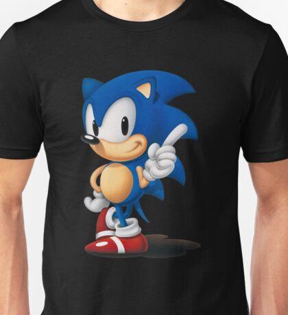 The Classic Blue Hedgehog (black background) Unisex T-Shirt