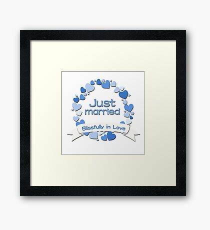 Just Married Blissfully in Love - Blue Framed Print