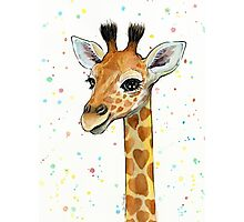 Baby Giraffe with Hearts Watercolor Animal Photographic Print