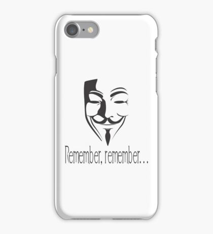 'Remember, remember' Guy Fawkes iPhone Case/Skin
