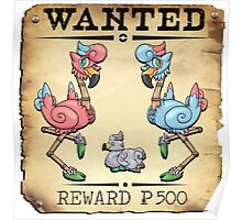 Dual Flamingo Family - Most Wanted Poster Poster