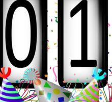 New Years Odometer Party Hats Sticker