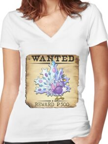 Ice Peacock - Most Wanted Poster Women's Fitted V-Neck T-Shirt