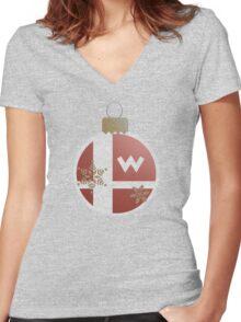 Super Smash Christmas - Wario Women's Fitted V-Neck T-Shirt