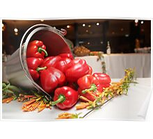 Red bell peppers as a decorative display on a table  Poster