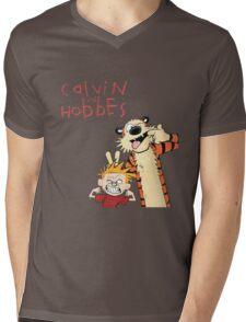 Calvin and Hobbes Funny Face Mens V-Neck T-Shirt