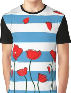 Poppy on blue background Graphic T-Shirt