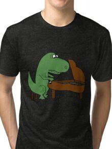 t rex playing piano Tri-blend T-Shirt