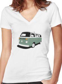 VW Camper Late Bay dark green white Women's Fitted V-Neck T-Shirt