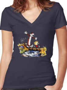 Calvin&Hobbes funny T-shirt Women's Fitted V-Neck T-Shirt