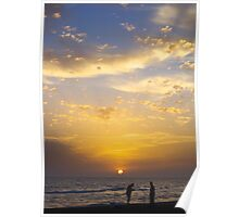 Sunset And Fishermen Poster
