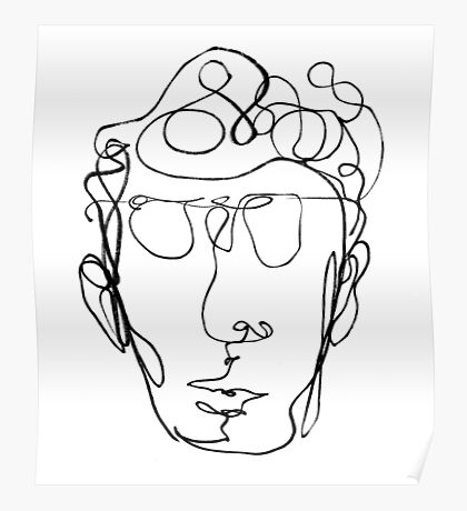Continuous line drawing of a man Poster