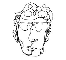 Continuous line drawing of a man Photographic Print