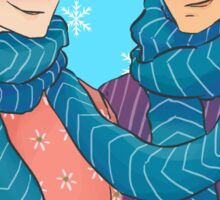 A scarf for two Sticker