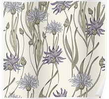 seamless pattern with cornflowers Poster