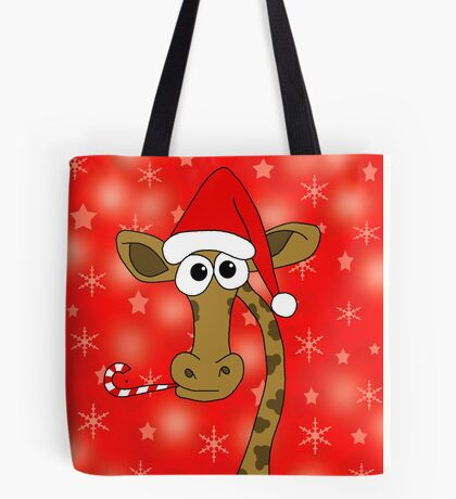Xmas giraffe - red Tote Bag