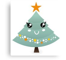 Stylized christmas tree character : Big eyes and nice smiling Canvas Print
