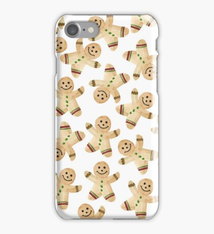 Gingerbread Man Cookie - Watercolor Gingerbread Christmas Cookies iPhone Case/Skin