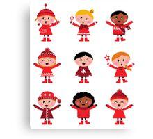 Little christmas cartoon children set : vintage original red illustrations Canvas Print