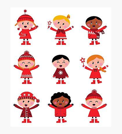 Little christmas cartoon children set : vintage original red illustrations Photographic Print