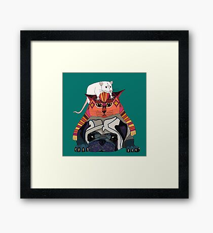 mouse cat pug teal Framed Print