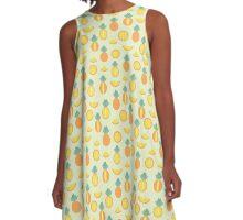 Pineapple Fruit Print Graphic Pattern A-Line Dress