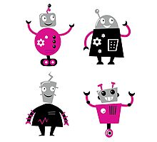 Cute cartoon robot characters. New arrivals in shop Photographic Print