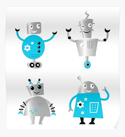 Cute cartoon robot characters : New! Blue robots edition Poster
