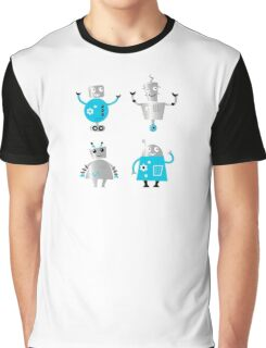 Cute cartoon robot characters : New! Blue robots edition Graphic T-Shirt