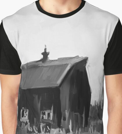 Lonely Barn Black and White Graphic T-Shirt