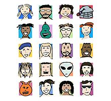 Grid of Happy Faces Photographic Print