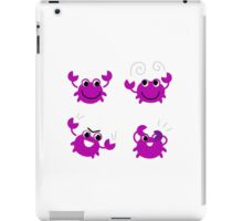 Cute pink crab set cartoon Illustration : Vintage purple iPad Case/Skin