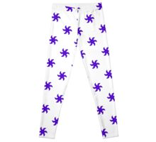Blue Red Pinwheel with Red Blossom Leggings