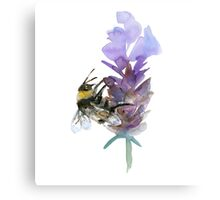 Bee on lavender watercolor Canvas Print