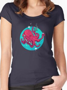 Octopus and Anchor Women's Fitted Scoop T-Shirt
