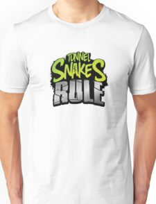 """Tunnel Snakes Rule"" Cool Typography Videogame T-Shirt Design Unisex T-Shirt"