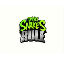 """""""Tunnel Snakes Rule"""" Cool Typography Videogame T-Shirt Design Art Print"""