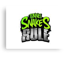 """Tunnel Snakes Rule"" Cool Typography Videogame T-Shirt Design Canvas Print"